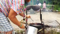 Primitive Brazilian Indigenous Frying Fish on Tribe