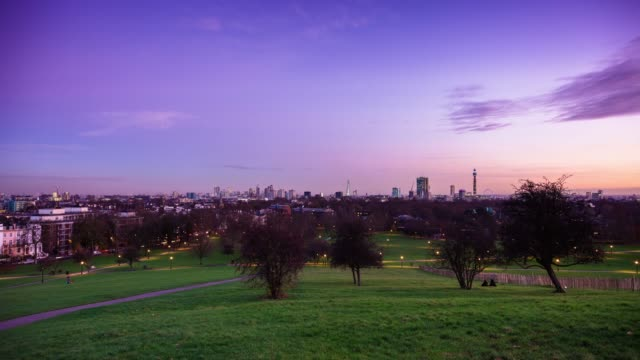 primrose hill, london - full day to night time lapse - day to night stock videos & royalty-free footage