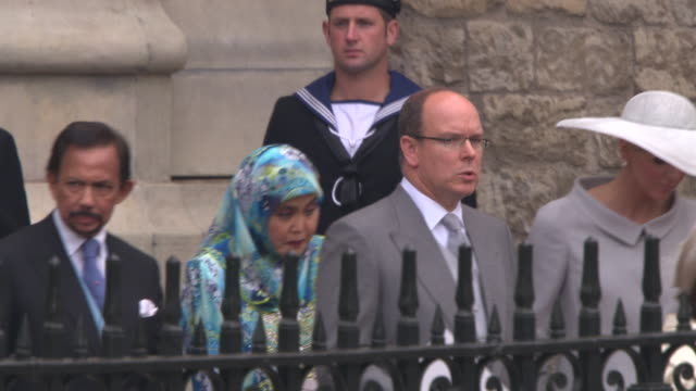 Prince Albert II of Monaco and Charlene Wittstock at the Royal Wedding Departures Westminster Abbey A Camera at London England