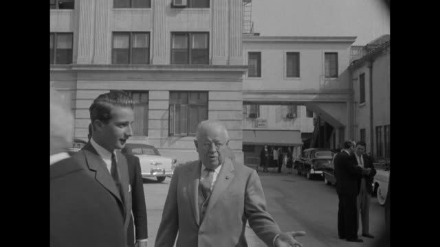 Prince Albert on set with Bob Hope / Prince and entourage walking on Paramount lot / Paramount Pictures Corporation VPresident Y Frank Freeman...