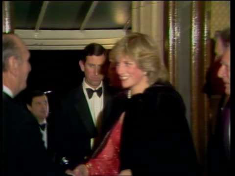 prince and princess of wales arrival at concert england london royal albert hall ms di and charles enter shake hands and chat move up stairs itn 25... - royal albert hall stock videos & royalty-free footage