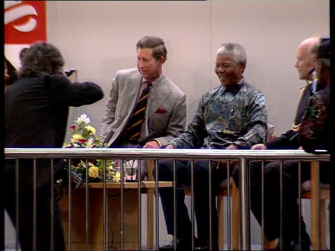 divorce int brixton recreation centre ms prince of wales sat with south african president nelson mandela as photographer takes close up of prince... - nelson mandela stock videos and b-roll footage