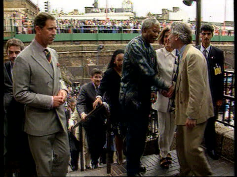 divorce prince and princess of wales divorce c4n england london brixton african pres nelson mandela up steps with prince of wales and others pull out... - ブリックストン点の映像素材/bロール