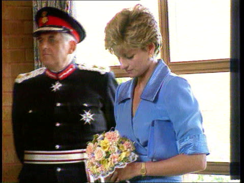 prince and princess of wales have separated; int southport lms diana standing at ceremony ) tx 11.6.92 cms diana standing looking down at posy ) pool... - wedding stock videos & royalty-free footage