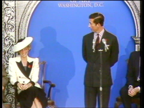 vídeos de stock, filmes e b-roll de prince and princess of wales have separated usa ms charles making speech as smiling tx 6992