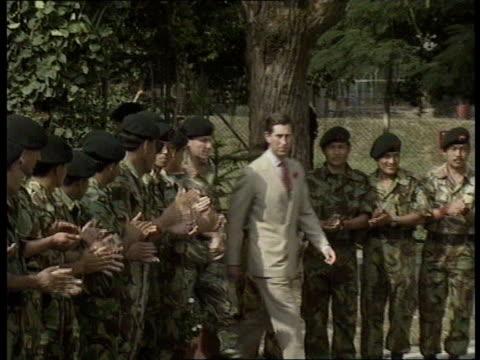 prince and princess of wales: hong kong visit: day 3:; hong kong: new territories: gurkha barracks: ext prince charles, prince of wales, wearing... - blue dog stock videos & royalty-free footage