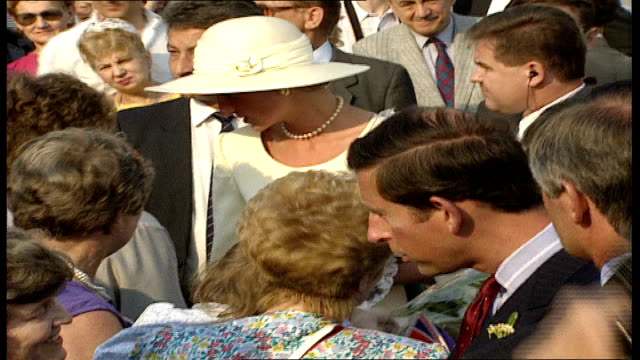 prince and princess of wales hungary visit: day 1: arrival and gvs; hungary: budapest: heroes' square: charles and diana walking around chatting with... - budapest stock videos & royalty-free footage