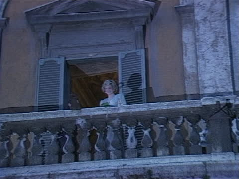 prince and princess of wales in italy: day 9:; italy: rome: ext tms prince charles, prince of wales and diana, princess of wales walk r-l across flat... - itv evening bulletin stock videos & royalty-free footage