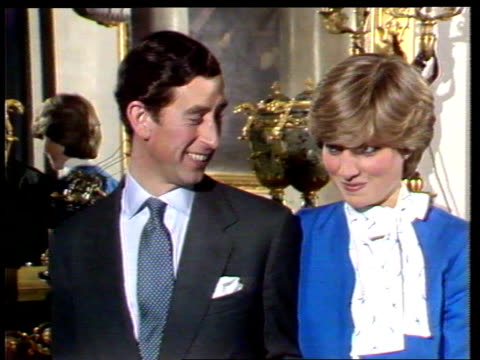 prince and princess of wales' marriage int buckingham palace cms prince charles and lady diana at engagement pkf as asked if they are in love and... - 1992 stock videos and b-roll footage
