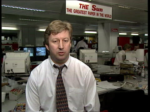 prince and princess of wales marriage / row over press intrusion london int journalists at offices of the sun newspaper computer screen showing front... - andrew neil stock videos and b-roll footage
