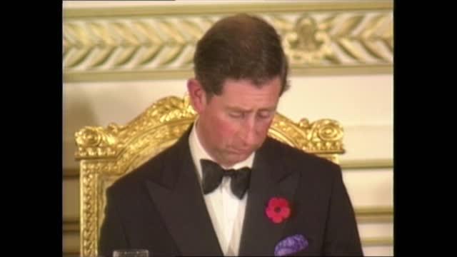 prince and princess of wales royal tour of south korea: banquet; south korea: seoul: int prince charles, prince of wales and princess diana, princess... - hand stock videos & royalty-free footage