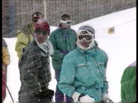 prince and princess of wales: skiing holiday; 21.45 snowing austria: lech lms prince and princess of wales and their sons prince william and prince... - ski holiday stock videos & royalty-free footage