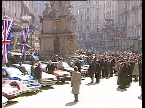 Prince and Princess of Wales visit Vienna Graben Street TMS Plain clothed police in street in F/G with crowds in B/G Prince Charles walking amp...