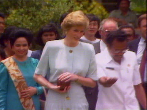 prince and princess of wales visit day 2: princess of wales visits lepers in hospital:; indonesia: jakarta: ext side diana, princess of wales along... - bacterium stock videos & royalty-free footage