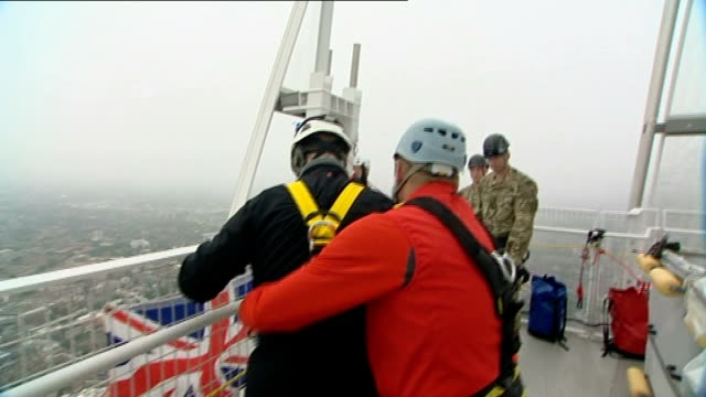 prince andrew abseils down the shard for charity engengland london the shard view / foggy aerials of the shard shard rooftop ext general views of... - briglia video stock e b–roll