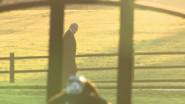 prince andrew and prince charles walking to sandringham church for christmas day service - 不祥事点の映像素材/bロール