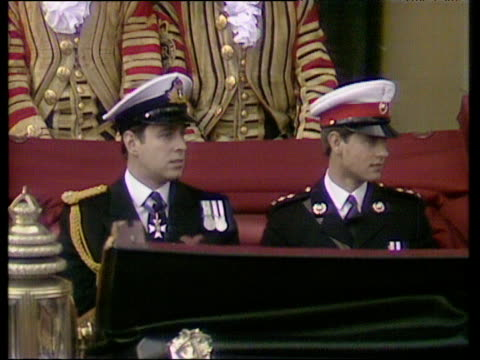 Prince Andrew and Prince Edward leave Buckingham Palace in horse drawn carriage both salute Royal Wedding of Prince Andrew and Sarah Ferguson 23 Jul...