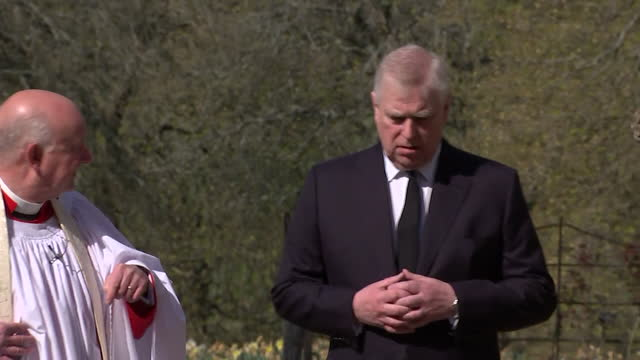 prince andrew, duke of york, arrives at the royal chapel of all saints in windsor great park, for sunday service, following death of his father duke... - sunday stock videos & royalty-free footage