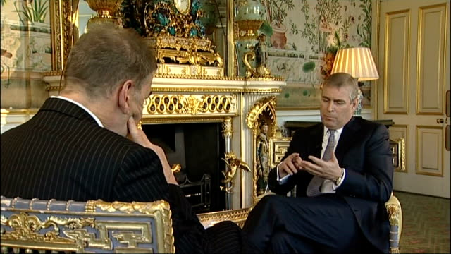 prince andrew from car and along buckingham palace: int prince andrew interview sot - this is all done on behalf of the uk cutaway reporter location... - commercial activity stock videos & royalty-free footage