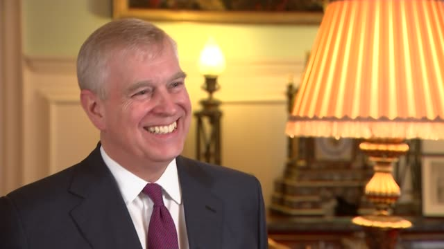 prince andrew hosts 'pitch@palace' business event for entrepreneurs england london st james' palace int prince andrew duke of york interview sot - ヨーク公 アンドルー王子点の映像素材/bロール