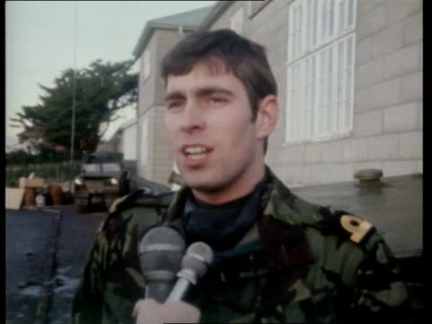 prince andrew interview on falklands experience falkland islands port stanley ext cs prince andrew interview sot the only other time the all clear... - ヨーク公 アンドルー王子点の映像素材/bロール
