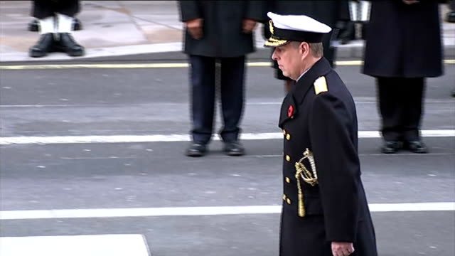prince andrew named in underage sex case claim; r09111407 london: whitehall: prince andrew laying wreath at the cenotaph during the remembrance day... - remembrance day stock videos & royalty-free footage
