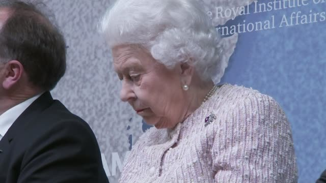 prince andrew to step back from public duties for the foreseeable future england london chatham house int queen elizabeth ii along past audience... - königin elisabeth ii. von england stock-videos und b-roll-filmmaterial