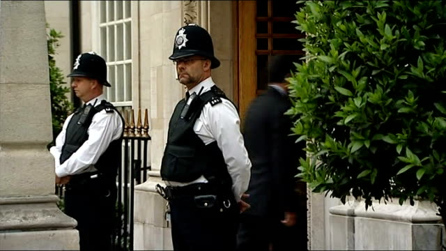 Prince Andrew viists Prince Philip in hospital ENGLAND London The London Clinic EXT Prince Andrew the Duke of York along and into hospital / Police...