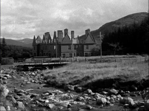 prince bernhard in scotland: general view holiday residence at newtonmore; scotland: inverness: newtonmore: ext general view residence where prince... - inverness scotland stock videos & royalty-free footage