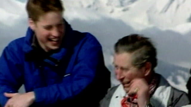 prince charles 60th birthday 3132005 klosters ext prince charles and sons princes harry and william photocall date unknown prince charles and camilla... - 2005 stock-videos und b-roll-filmmaterial