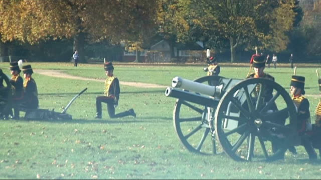 41gun salute in hyde park england london hyde park ext cannon of the king's troop royal horse artillery being fired at intervals to mark the 60th... - royal horse artillery stock videos and b-roll footage