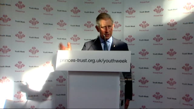 charles and camilla visit beckton community centre prince charles making speech at podium sot charles and camilla departing beckton community centre... - receiving stock videos & royalty-free footage