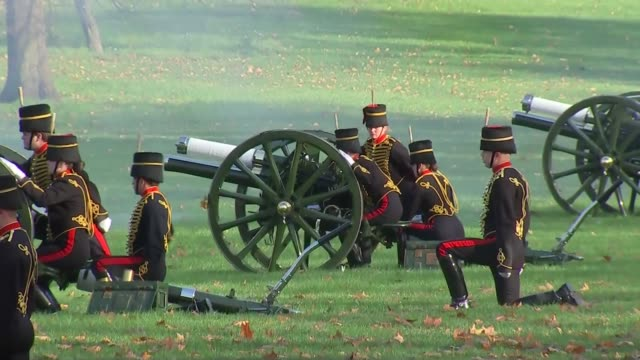 41gun salute in green park england london green park king's troop royal horse artillery cannons fired in salute - royal horse artillery stock videos and b-roll footage