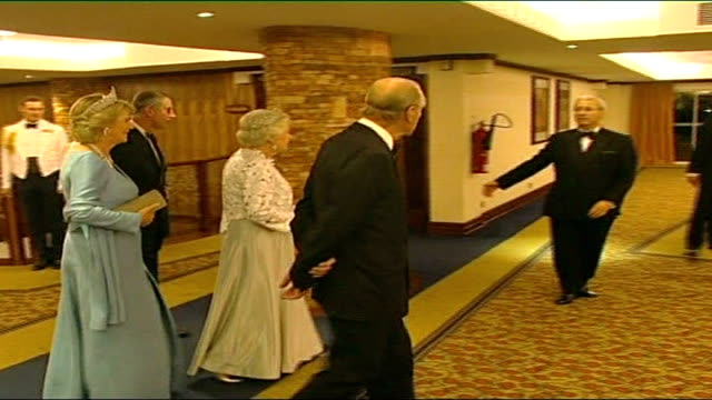 prince charles accompanies queen to commonwealth conference ; uganda: kampala: int queen elizabeth ii , prince philip , camilla, duchess of cornwall... - royal blue stock videos & royalty-free footage