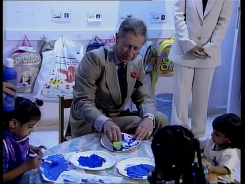 muscat prince charles prince of wales sitting smiling with children in childcare centre pull out child carers watching prince charles with another... - paper plate stock videos & royalty-free footage