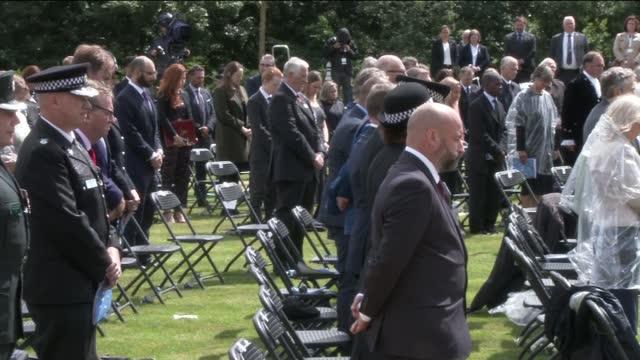 prince charles and boris johnson attend uk police memorial dedication ceremony at national arboretum; england: staffordshire: national arboretum: uk... - activity stock videos & royalty-free footage