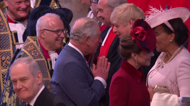 prince charles and camilla arrive inside westminster abbey for commonwealth day service and greet boris johnson, charles used namaste gesture rather... - boris johnson stock videos & royalty-free footage