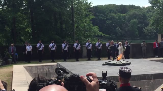prince charles and camilla attend an event at parc tete d'or in lyon to mark the 73rd anniversary of the end of the second world war in europe - dor stock videos & royalty-free footage