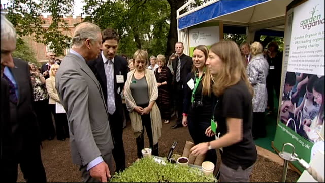 prince charles and camilla attend garden party to make a difference event at clarence house; various of prince charles meeting guests and... - typisch walisisch stock-videos und b-roll-filmmaterial