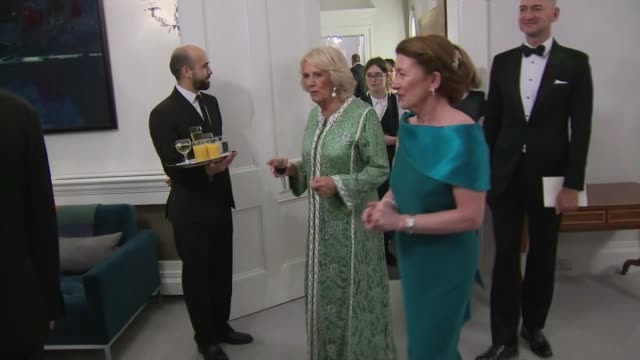 prince charles and camilla attend st patrick's day dinner at embassy of ireland in london; england: london: embassy of ireland: ext / night prince... - dara o'briain stock videos & royalty-free footage