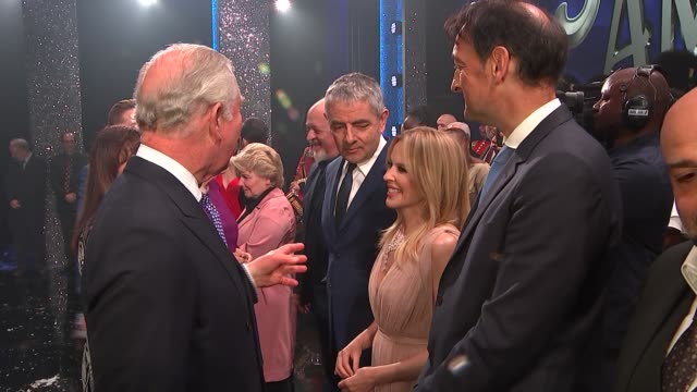 prince charles and camilla attend 'we are most amused and amazed' event at london palladium england london london palladium prince charles prince of... - ローワン アトキンソン点の映像素材/bロール
