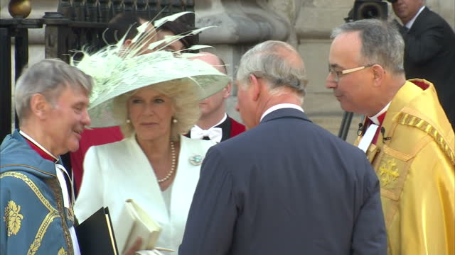 Prince Charles and Camilla Duchess of Cornwall arrive at Westminster Abbey for 60th anniversary of the Queens coronation Prince Charles and Camilla...