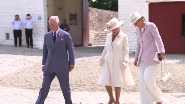 Prince Charles and Camilla Duchess of Cornwall attend Battle of Waterloo Memorial Service in Belgium ***BEWARE Dignitaries out of building and along...
