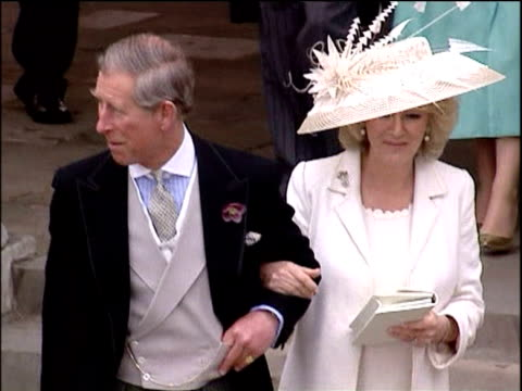 prince charles and camilla duchess of cornwall leave registry office following their wedding camilla attempts her first 'royal' wave windsor 9 apr 05 - camilla duchess of cornwall stock videos and b-roll footage