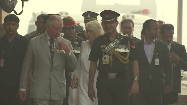 Prince Charles and Camilla Duchess of Cornwall leaving the India Gate New Delhi