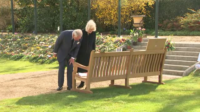 prince charles and camilla, duchess of cornwall, view flowers and tributes, left by public upon the death of prince philip, that have been moved to... - monument stock videos & royalty-free footage