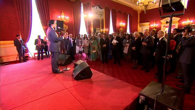 prince charles and camilla host reception for members of british indian and british sri lankan communities; sanjeev bhaskar speech sot / charles and... - サンジーヴ・バスカー点の映像素材/bロール