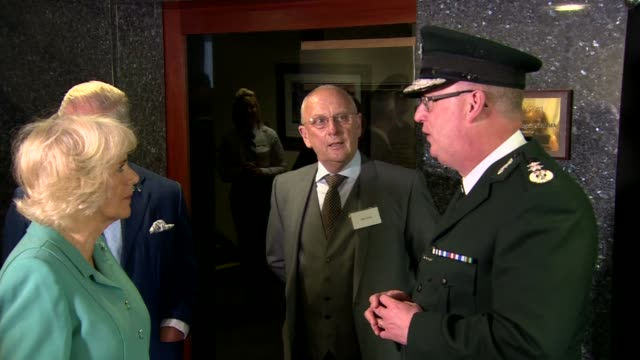 prince charles and camilla in northern ireland memorial garden for ni police force opened northern ireland belfast psni ext royal motorcade arriving... - sir george young politician stock videos and b-roll footage