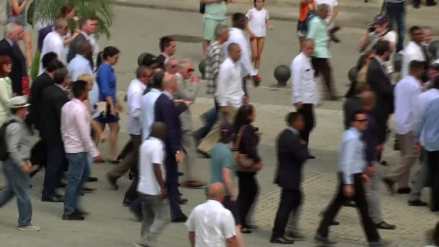 prince charles and camilla make first official visit by royal family cuba havana ext various crowds surrounding prince charles prince of wales in old... - plaza vieja stock videos and b-roll footage