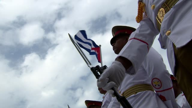 prince charles and camilla make first official visit by royal family cuba havana revolution square ext cuban soldiers standing close shot cuba... - bayonet stock videos & royalty-free footage